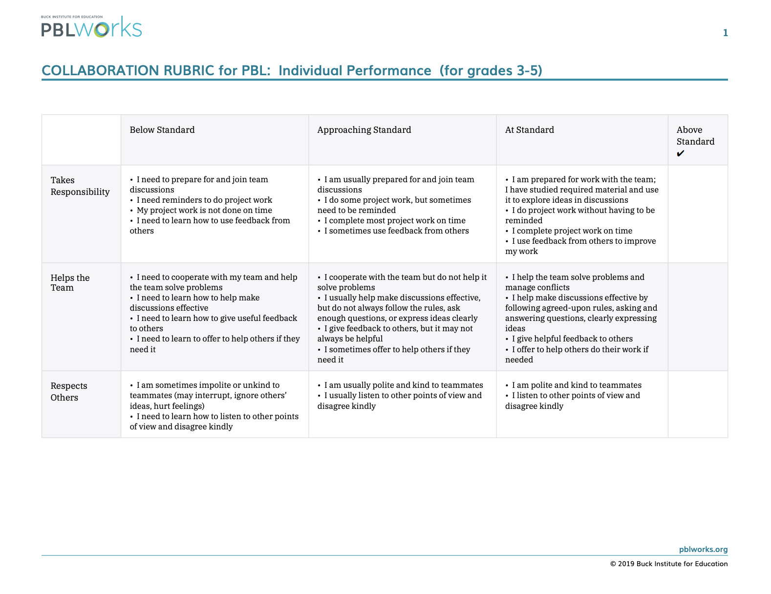 Collaboration Rubric for PBL grades 3-5 NON-CCSS