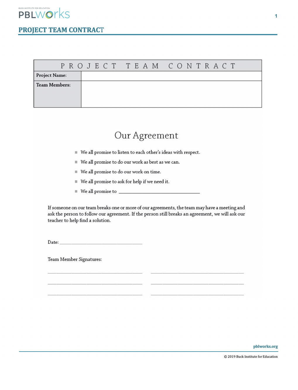 Project Team Contract