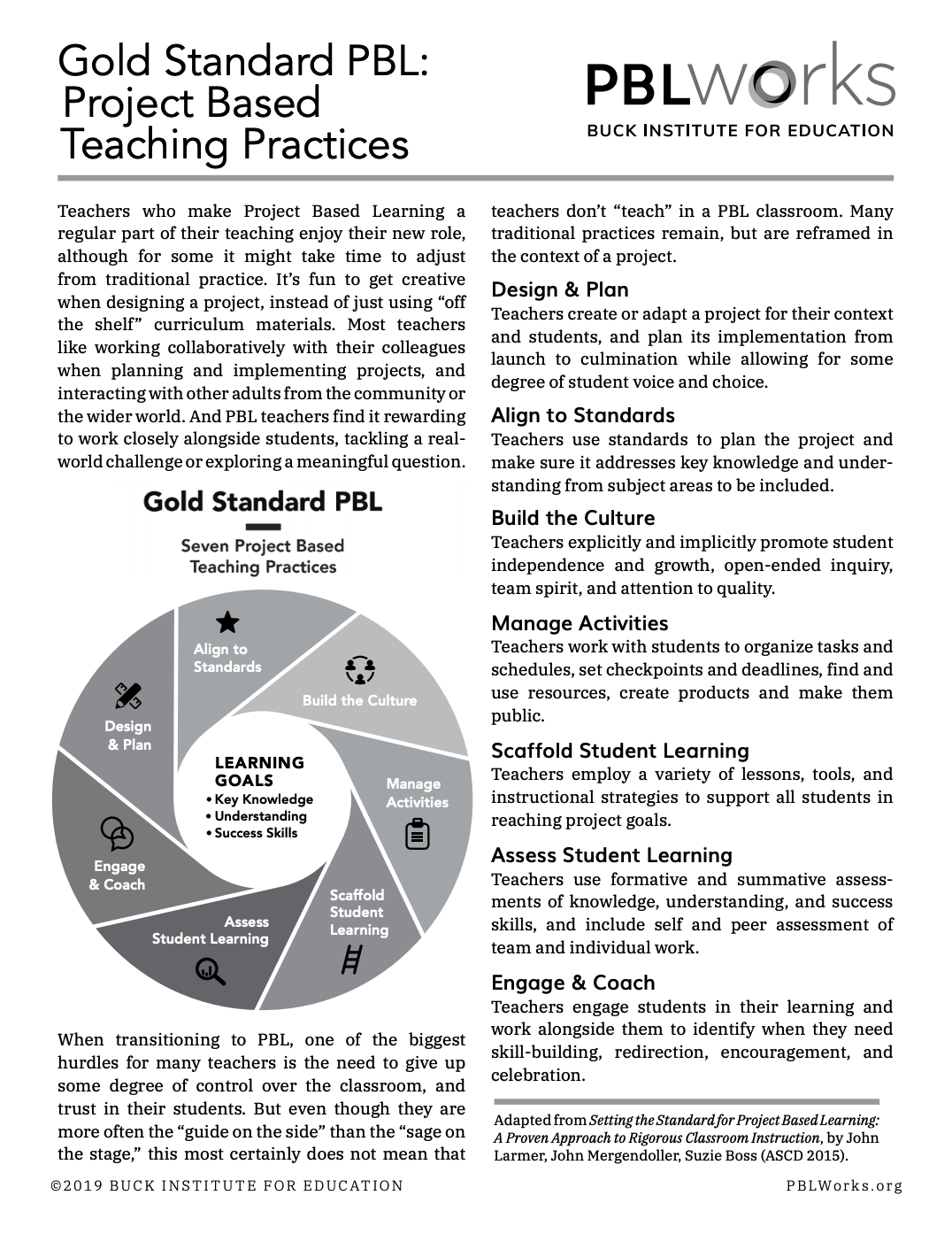 Gold Standard PBL Project Based Teaching Practices