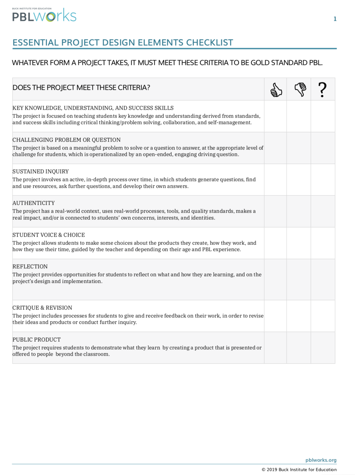Essential Project Design Elements Checklist