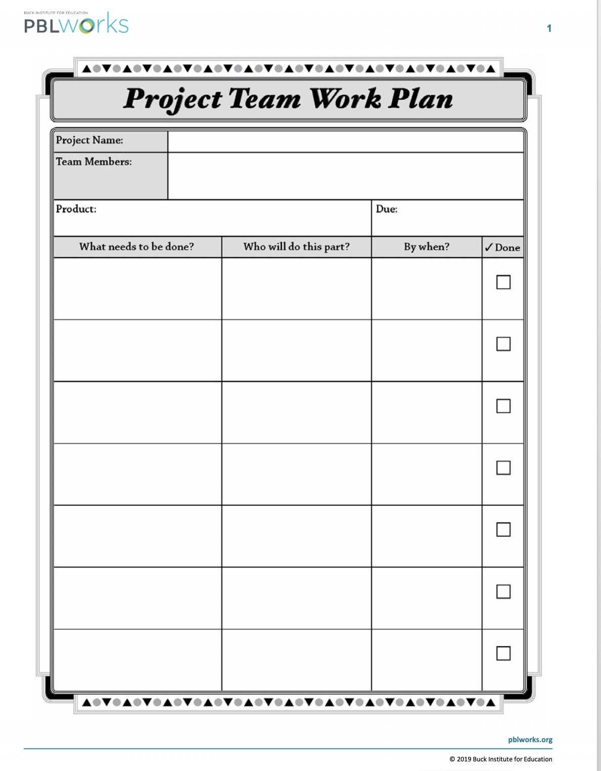 Project Team Work Plan