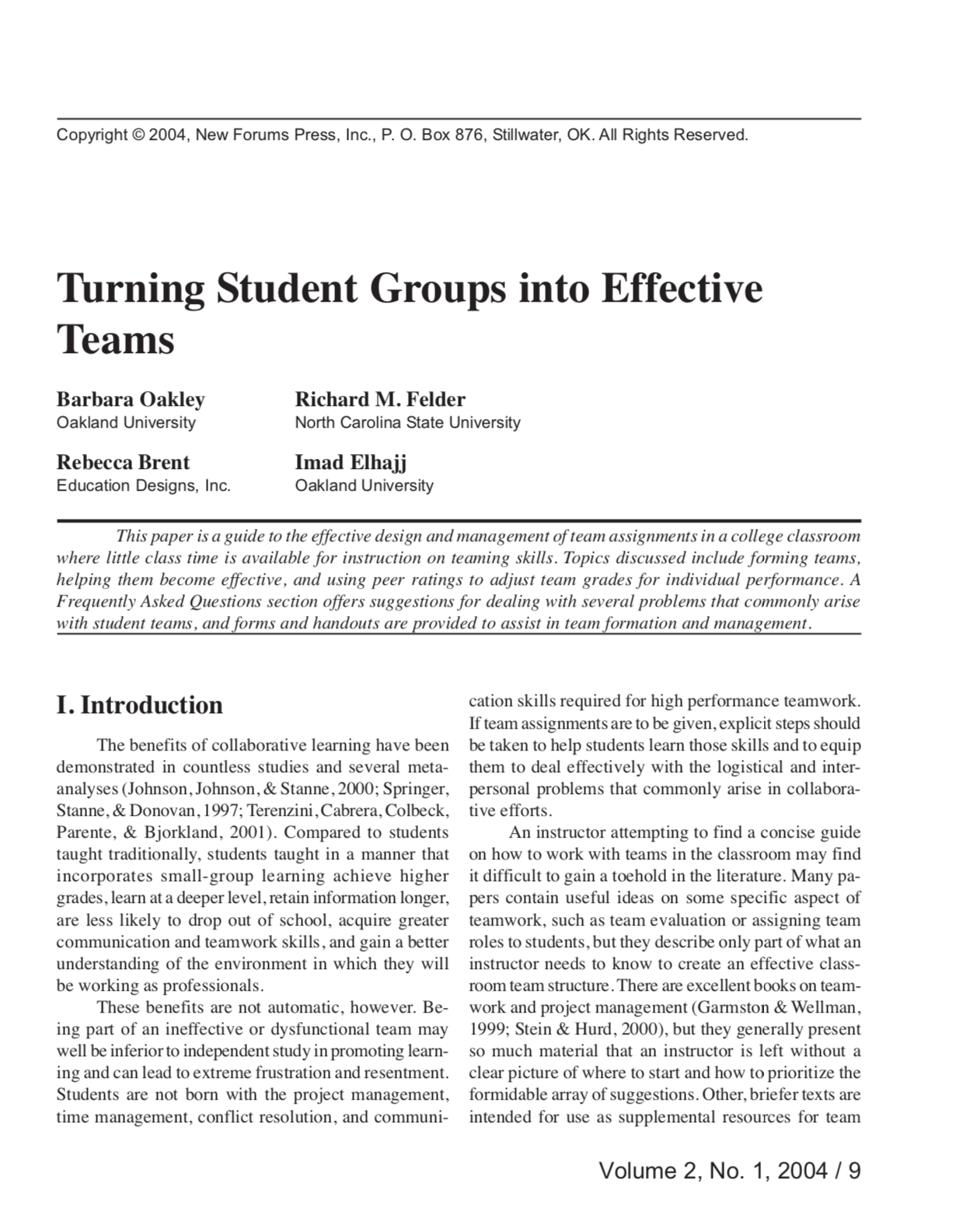 Turning Student Groups into Effective Teams
