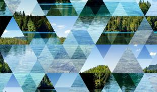 An abstract, triangular mosaic background with glimpses of a forest lake.