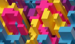 A colorful pink, yellow and blue digital illustration of building-like shapes as seen from above.
