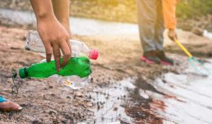 A group of children volunteer to clean empty plastic bottles from a shoreline.