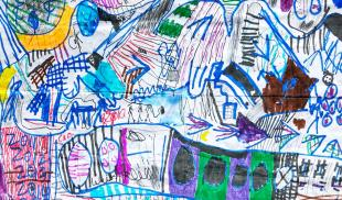 A child's  colorful drawing of an intricate map.