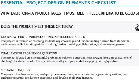 This is a thumbnail image of the Essential Project Design Elements Checklist .pdf attachment