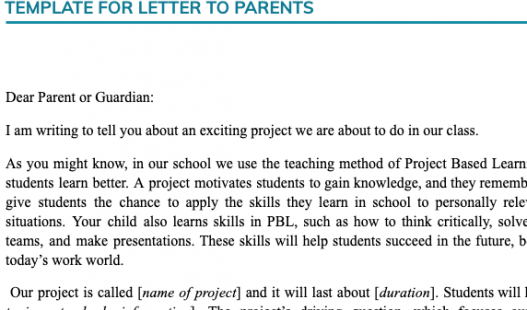Thumbnail of this downloadable resource called Template for Letter to Parents