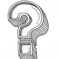 This hand drawn image depicts a question mark.