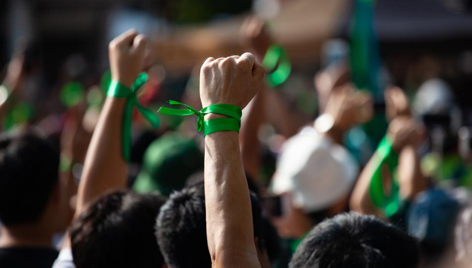 A crowd of protesters wearing green ribbons on their wrists raise their fists in the air.