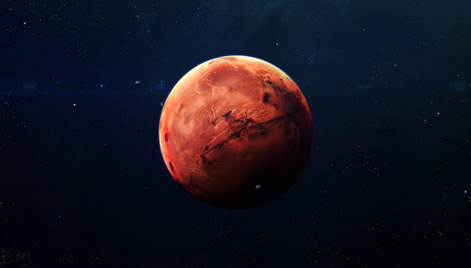 The planet Mars out in space