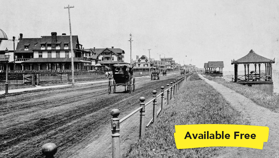 Antique black-and-white photograph of Ocean Avenue, Long Branch New Jersey, with two buggies going down a dirt road.
