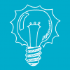 icon of white light bulb on blue background